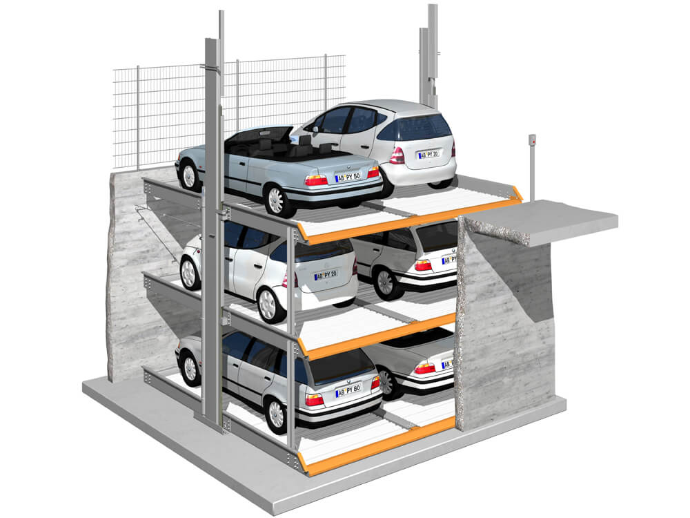 Parkeersysteem MultiBase G63 DB Outdoor 010 3D - Aarding Parking Systems