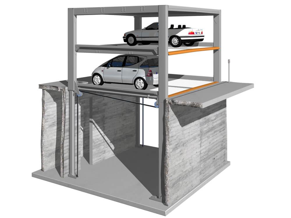 Parkeersysteem MultiBase U2 Underfloor DB 020 3D - Aarding Parking Systems